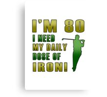 80th Birthday For Golf Lovers Canvas Print