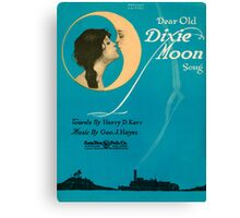 DEAR OLD DIXIE MOON  (vintage illustration) Canvas Print