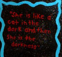Black cat in the darkness. Sticker