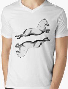 Two Lipanzanna Stallions in Capriole (Black and White) Mens V-Neck T-Shirt