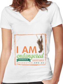 I am Endangered Women's Fitted V-Neck T-Shirt