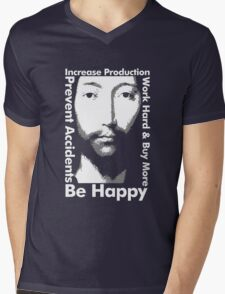 OMM 0000 THX -1138 Be Happy Mens V-Neck T-Shirt