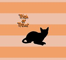 Halloween Cat Stripes Trick or Treat Black Orange by sitnica