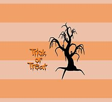 Halloween Tree Trick or Treat Black Orange by sitnica