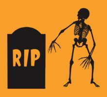 Halloween Creepy Skeleton Tombstone Black by sitnica