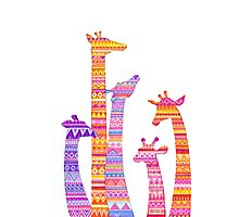 Giraffe Silhouettes in Colorful Tribal Print Photographic Print