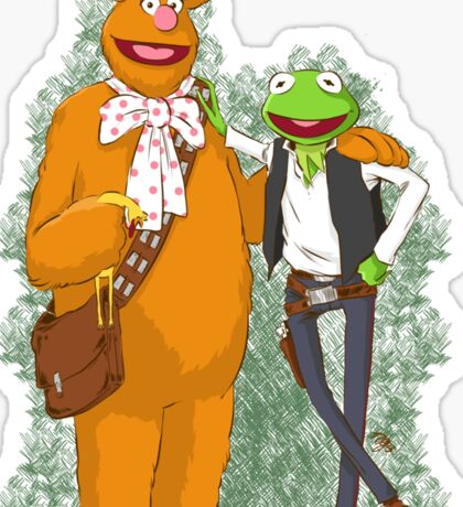 han the frog and fozzy the wookie Sticker