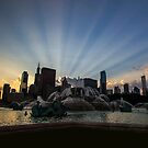 Chicago's Buckingham Fountain with rays of sunlight by Sven Brogren
