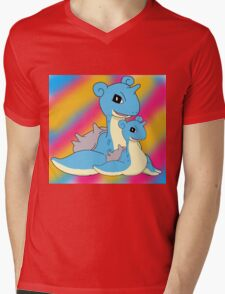 Lapras Family Mens V-Neck T-Shirt
