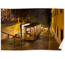 Lisbon Gloria Funicular Night Shot Poster