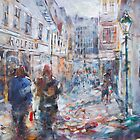 Art - Painting Of Street Scene - City Shopping by Ballet Dance-Artist