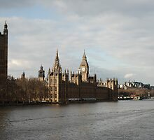 London: The River Thames & The Palace of Westminster by justbmac