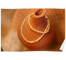 Pearls Wrapped around Wooden Vase Poster