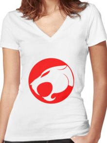 THUNDERCATS RED Women's Fitted V-Neck T-Shirt