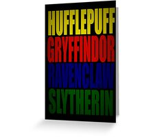 Hogwarts Houses Typography Greeting Card