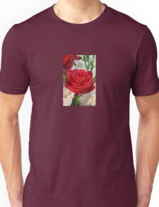 Red Rose with Garden Background Unisex T-Shirt