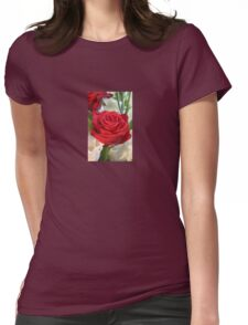 Red Rose with Garden Background Womens Fitted T-Shirt