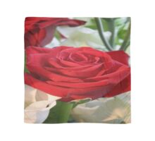 Red Rose with Garden Background Scarf