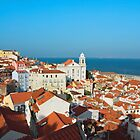 View of Igreja de Santo Estevao in Alfama Lisbon by kirilart