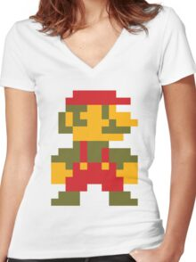 8 bit Mario V.2 Women's Fitted V-Neck T-Shirt