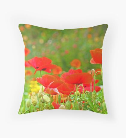 Red Poppies Flowers Meadow Art Prints Throw Pillow
