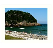 Swim at Black Beach ! Art Print