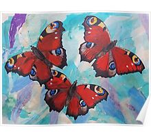 Peacock Butterflies Poster
