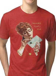 Beautiful Young Woman Holding Love Letter Vintage Vector Tri-blend T-Shirt