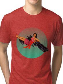 Swinging Sixties Girl on Gun Tri-blend T-Shirt