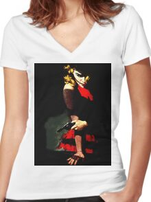 Devil With A Red Dress Women's Fitted V-Neck T-Shirt