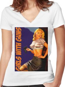 Classic Girls With Guns Women's Fitted V-Neck T-Shirt