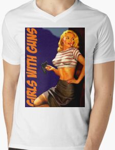 Classic Girls With Guns Mens V-Neck T-Shirt