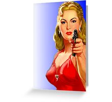 Red Hot Girl with Gun Greeting Card