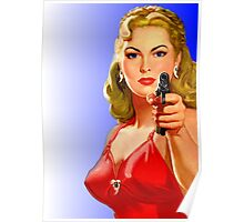 Red Hot Girl with Gun Poster
