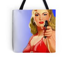 Red Hot Girl with Gun Tote Bag