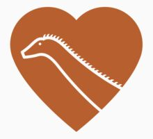 Dinosaur heart: Diplodocus (Orange on White) Kids Tee