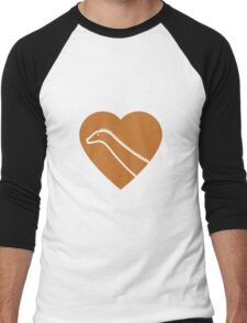 Dinosaur heart: Diplodocus (Orange on White) Men's Baseball ¾ T-Shirt