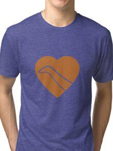 Dinosaur heart: Diplodocus (Orange on White) Tri-blend T-Shirt
