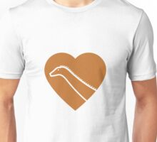 Dinosaur heart: Diplodocus (Orange on White) Unisex T-Shirt