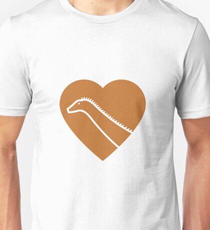 Dinosaur heart: Diplodocus (Orange on White) Unisex T-Shirt