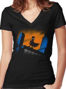 BARTMAN BEGINS Women's Fitted V-Neck T-Shirt