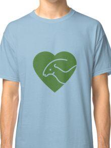 Dinosaur heart: Parasaurolophus (Green on white) Classic T-Shirt