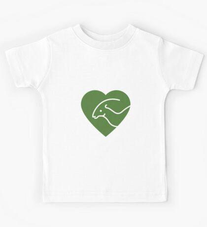 Dinosaur heart: Parasaurolophus (Green on white) Kids Tee