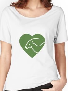 Dinosaur heart: Parasaurolophus (Green on white) Women's Relaxed Fit T-Shirt