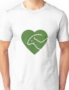 Dinosaur heart: Parasaurolophus (Green on white) T-Shirt