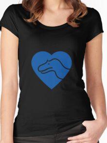 Dinosaur heart: Torvosaurus (Blue on white) Women's Fitted Scoop T-Shirt