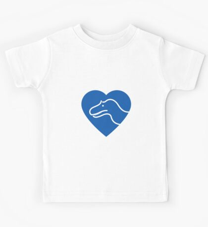 Dinosaur heart: Torvosaurus (Blue on white) Kids Tee