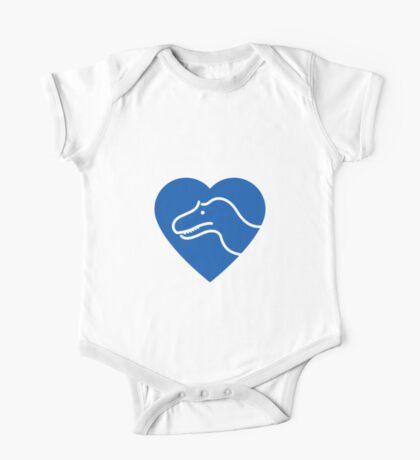 Dinosaur heart: Torvosaurus (Blue on white) One Piece - Short Sleeve