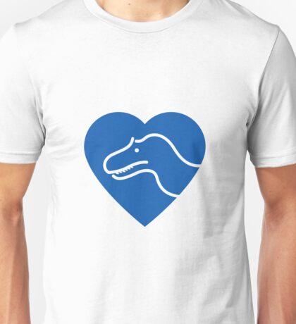 Dinosaur heart: Torvosaurus (Blue on white) Unisex T-Shirt