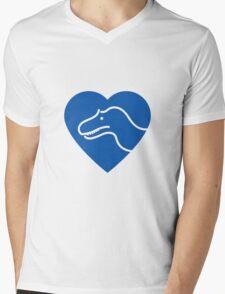 Dinosaur heart: Torvosaurus (Blue on white) Mens V-Neck T-Shirt